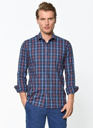 Wessi Uzun Kollu Kareli Gömlek Mavi